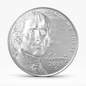 3d max nickel coin