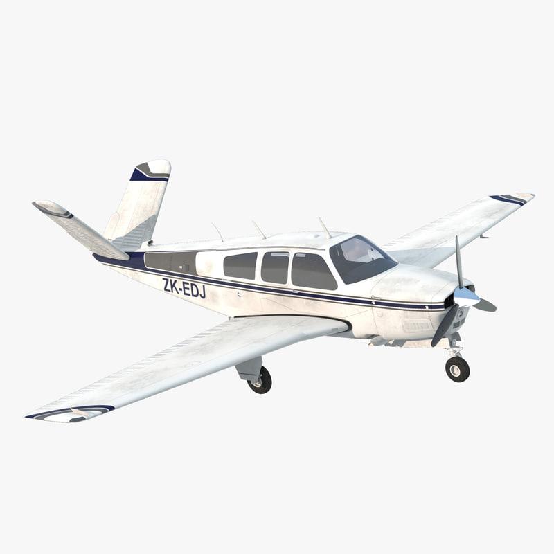 3d civil utility aircraft beechcraft bonanza model