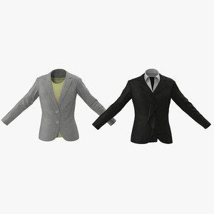 3d model women suit jackets modeled