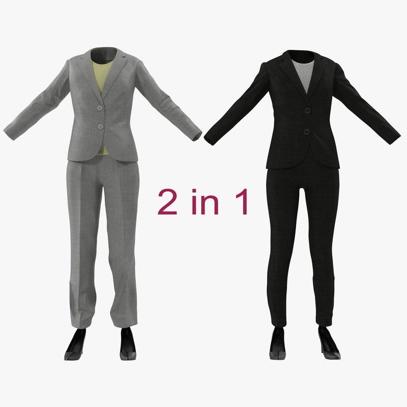 women suits modeled 3d 3ds