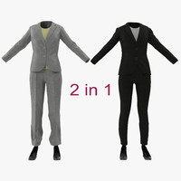 women suits modeled 3d 3ds