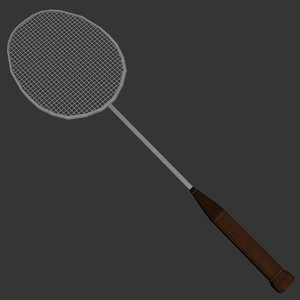 ready badminton racquet 3d model