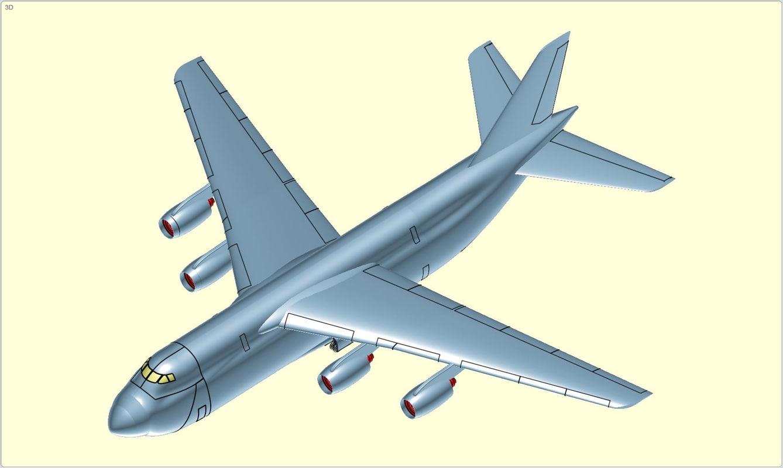 antonov an-124 aircraft solid 3d model