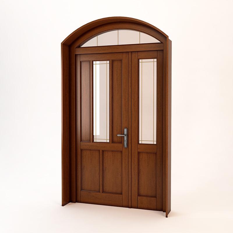 entrance wooden door 3d model