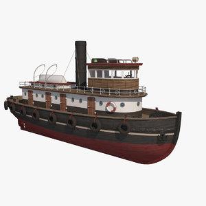 wooden rat tugboat 3d model