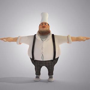 3d model cartoon fat chief