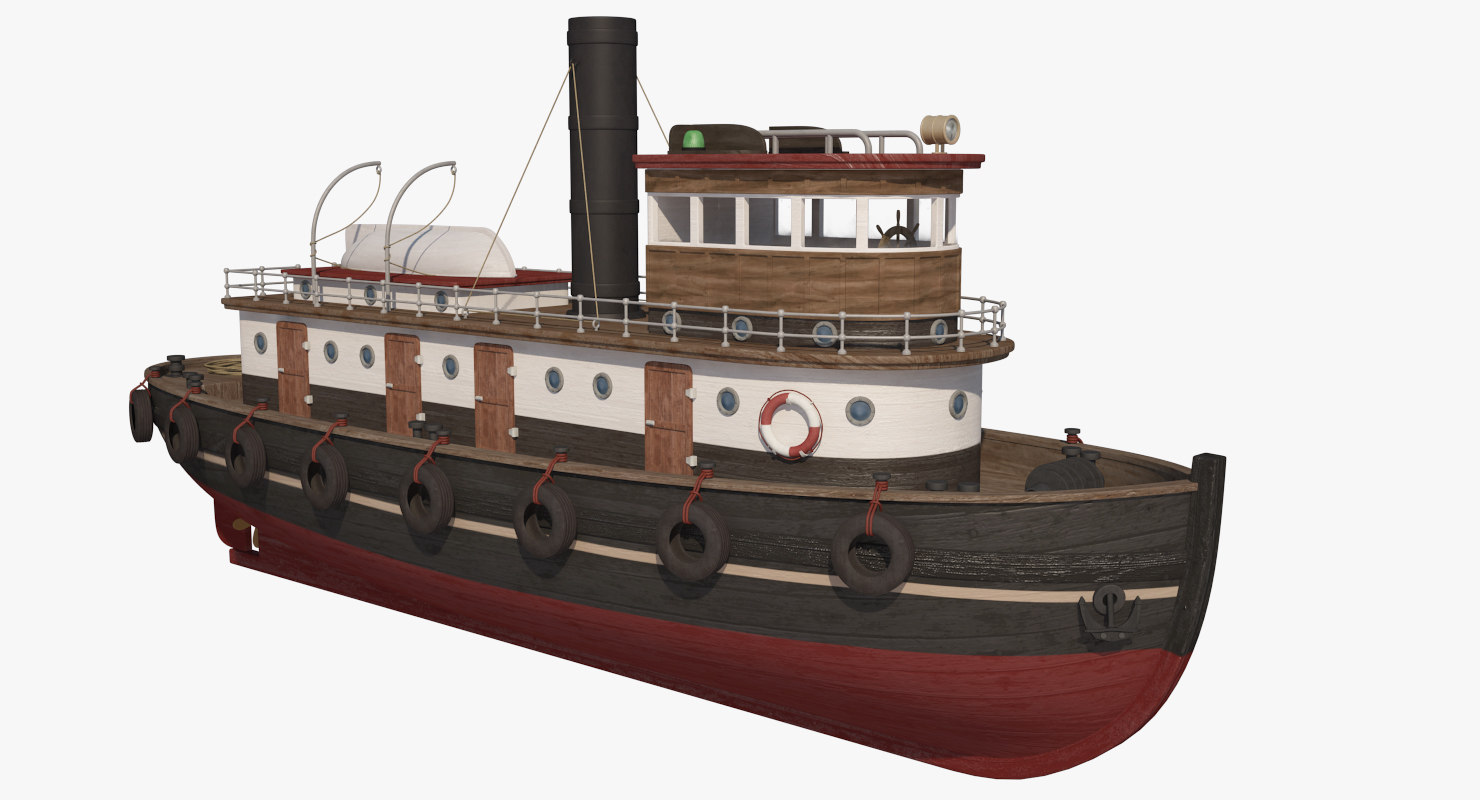wooden rat tugboat 3d model
