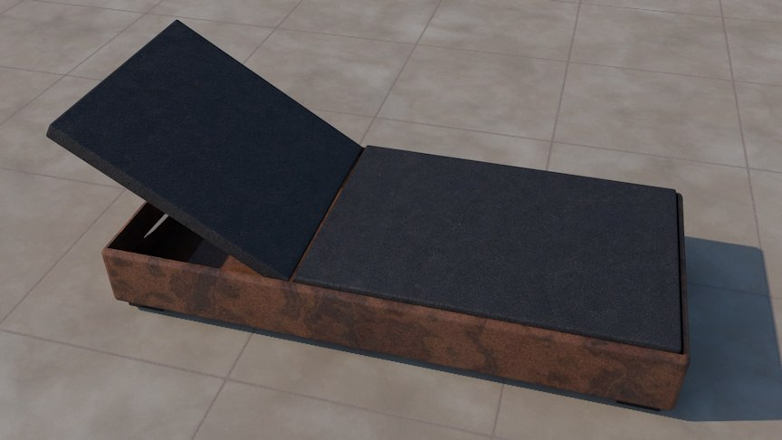 deck chair leather 3d model