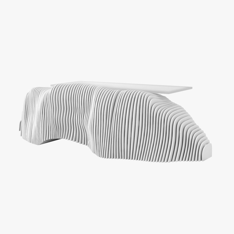 sculptural reception desk c4d