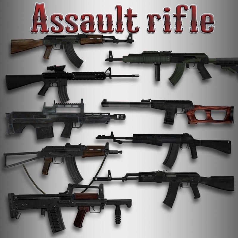 assault rifles 3d x