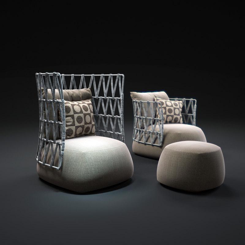 3dsmax fat-armchair-outdoor