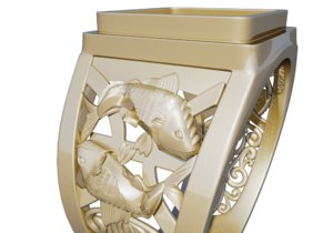 ring pisces 3d obj