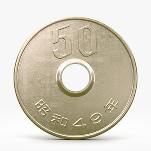 fifty yen coin c4d