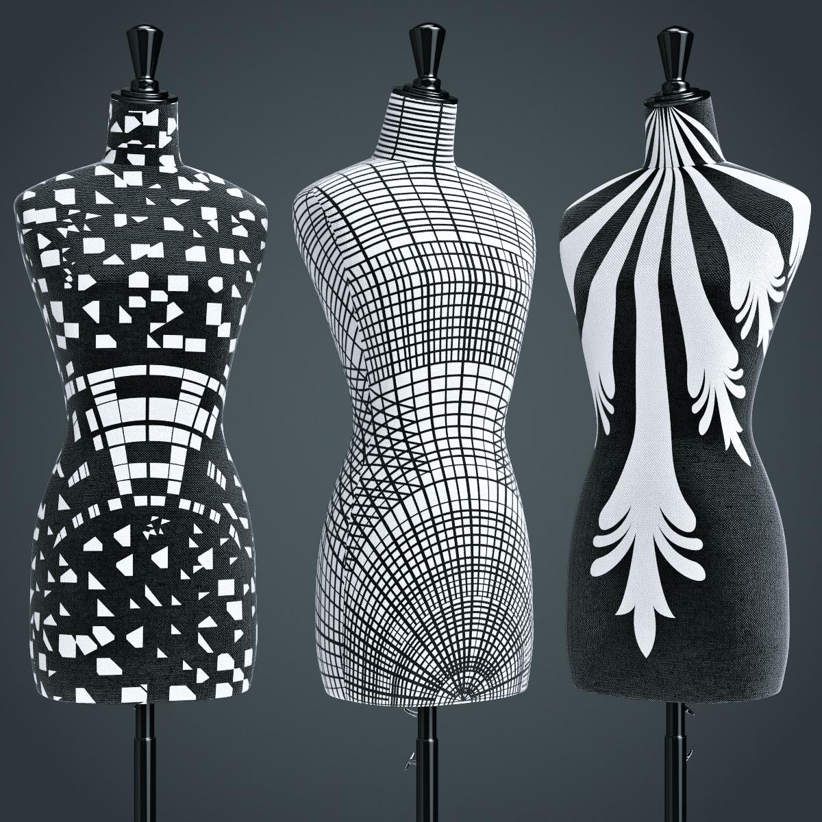 3d stock busts nequin set model