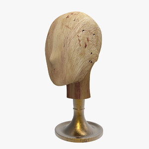 realistic display wood head 3ds