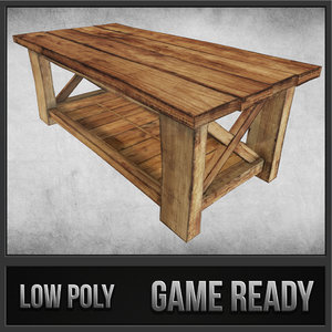 rustic wood table 02 3d model