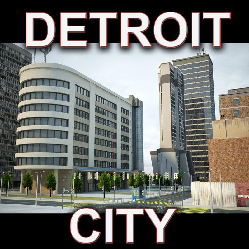 3d detroit city buildings model