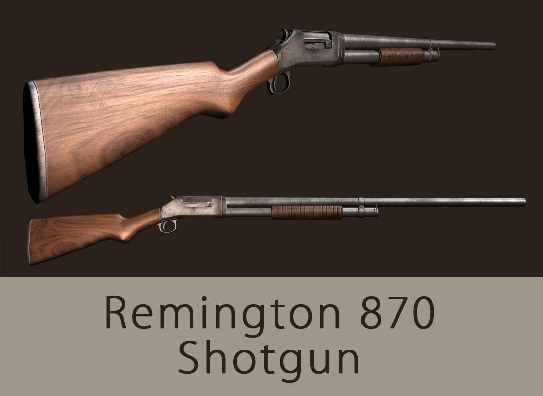 3d model gameready remington shotgun