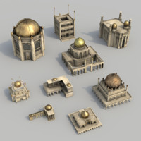 3d model buildings arabian city courtyard