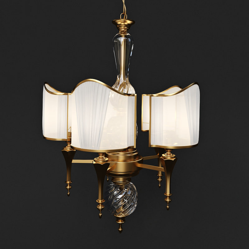3d model chandelier gold fabric