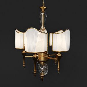 3d model chandelier gold fabric