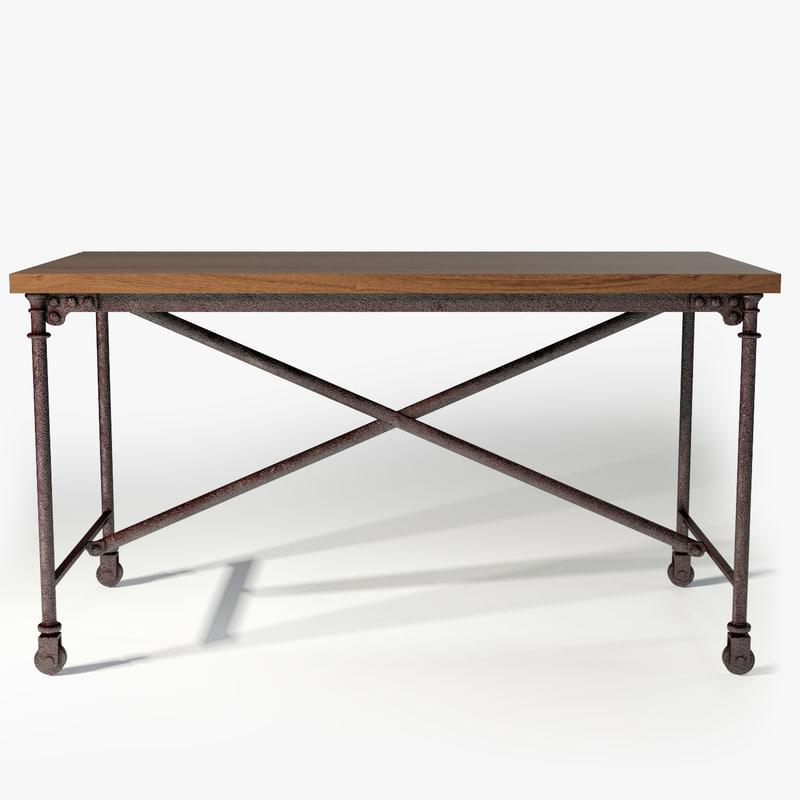 3d restoration hardware flatiron desk