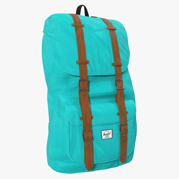 backpack 8 turquoise modeled 3d model