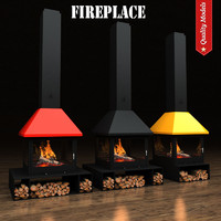 3d realistic fireplace heating 2 model