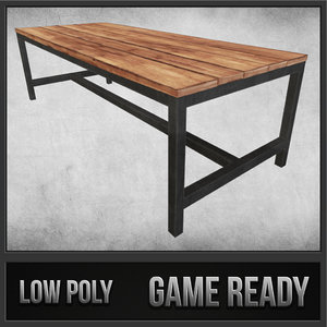 rustic wood table 03 max