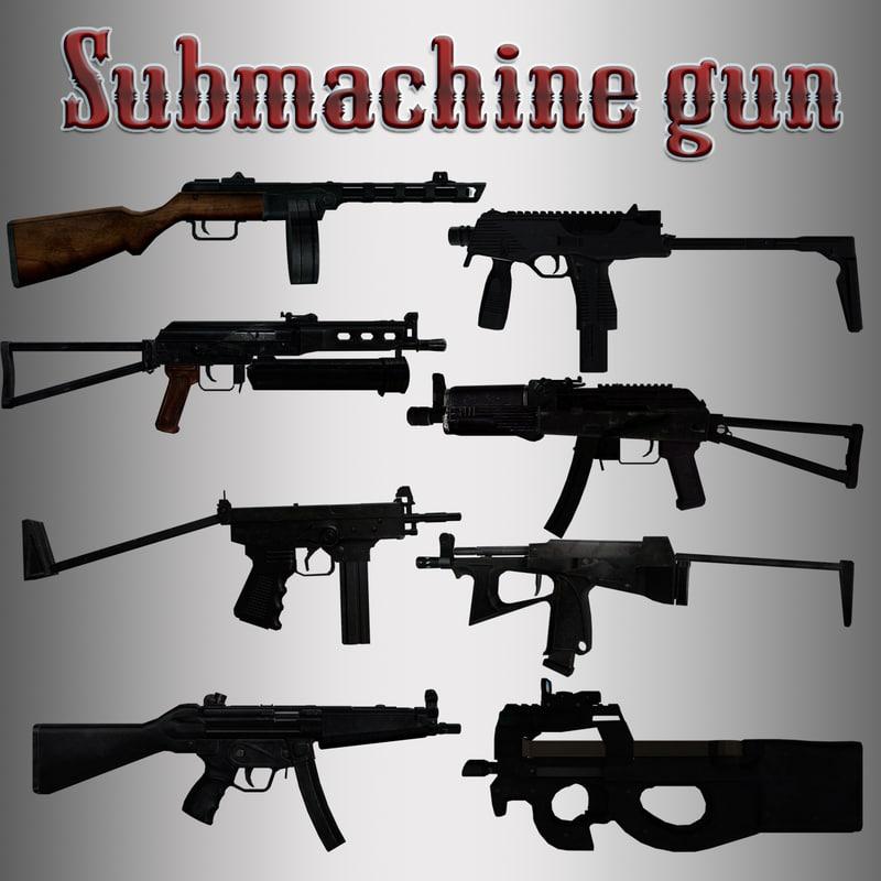 3d model of submachine gun