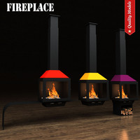 realistic fireplace heating 3d model