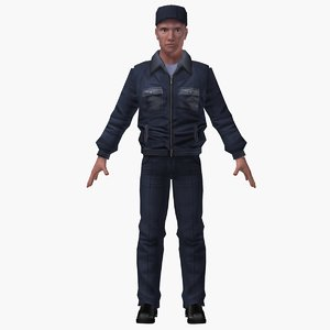 3d max police man