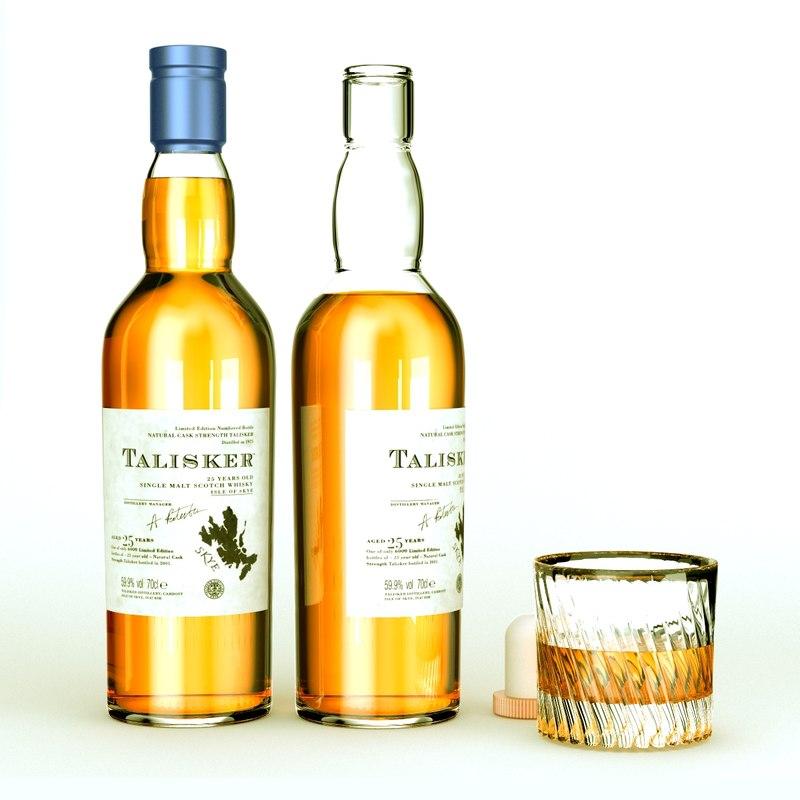 3d model talisker whiskey bottle