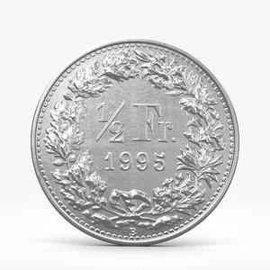 3d model half swiss frank coin
