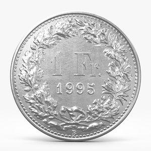 3d frank coin model