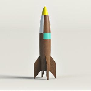 wooden rocket ship 3d model