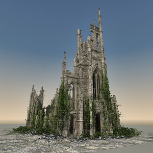 medieval ruined church 3d model
