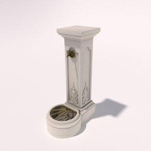 concrete watertap column 3d obj