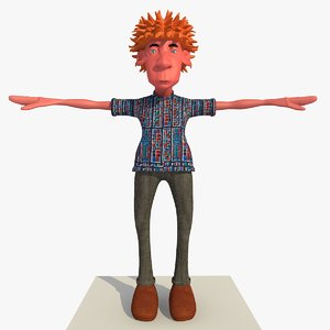 rigged cartoon casual man 3d c4d