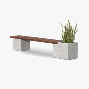 3d bench wood plant model
