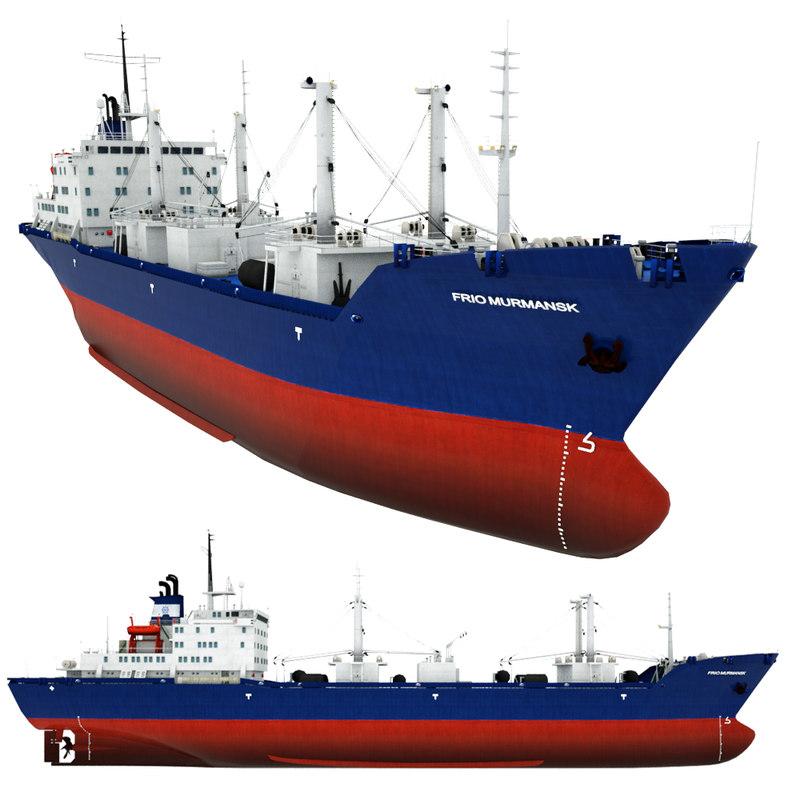 reefer vessel frio murmansk 3d model