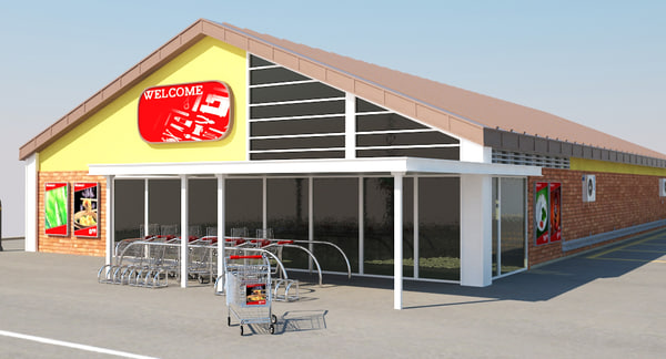 supermarket building parking space 3ds