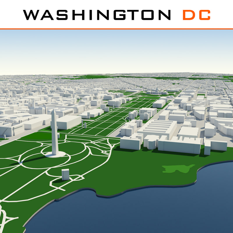 washington dc cityscape 3d max. Black Bedroom Furniture Sets. Home Design Ideas