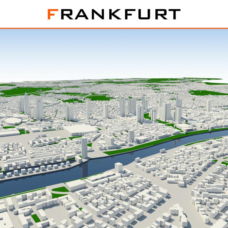 3d frankfurt cityscape model