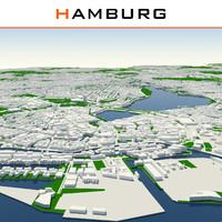 3d model hamburg cityscape