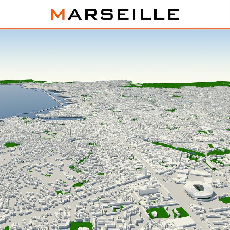 3d model marseille cityscape