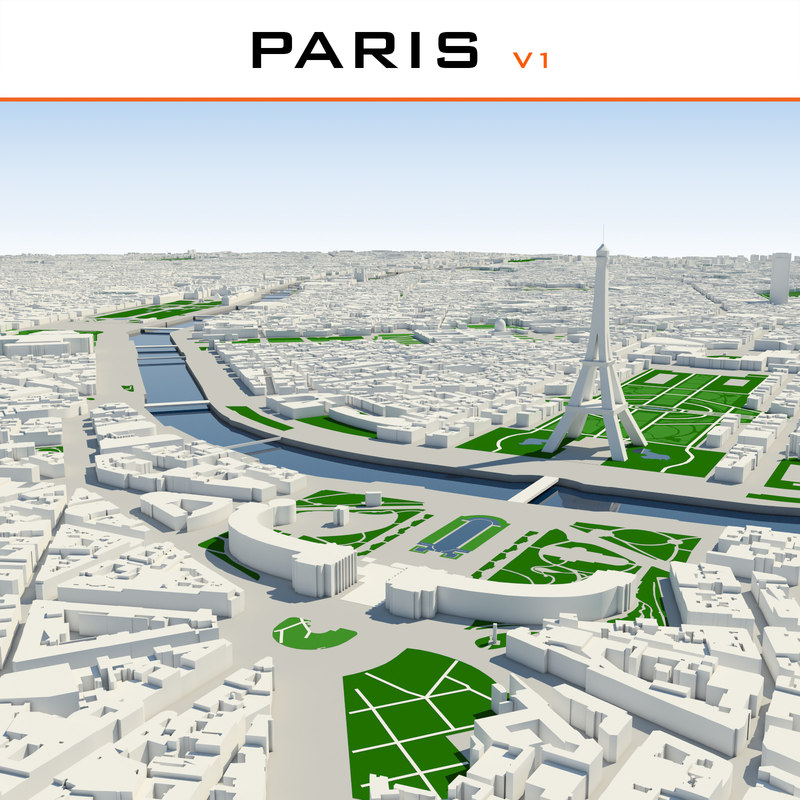 3d paris cityscape v1