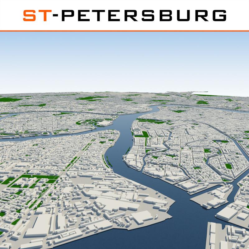 saint-petersburg cityscape 3d model