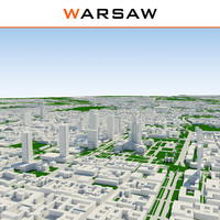 3d warsaw cityscape