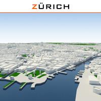 zurich cityscape 3d dxf